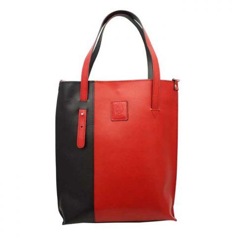 赤と黒のレザートートバッグ