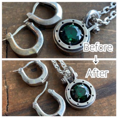ネックレスとピアスのリペア修理品