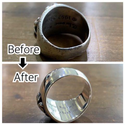 クロムハーツのリングの変形直しと磨き直し