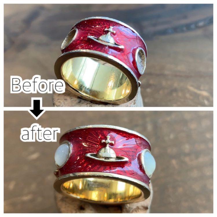 ヴィヴィアンウェストウッドの指輪の石取れ修理