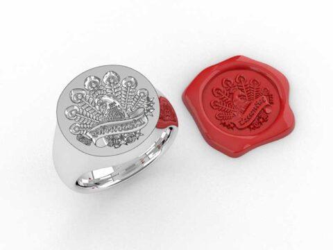 オーダーメイドのシーリングスタンプの指輪の3Dデザイン