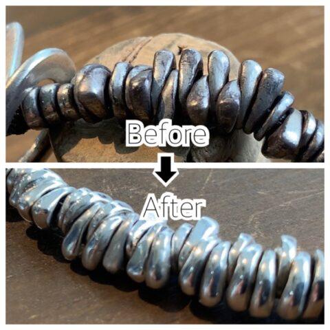 シルバーとレザーブレスレットの黒ずみの磨き修理
