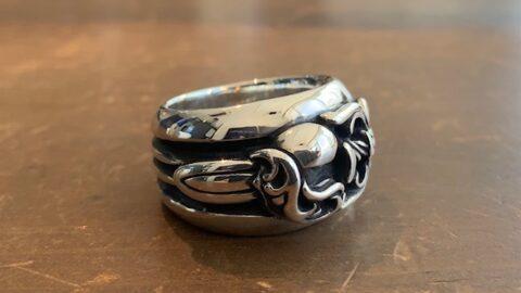 クロムハーツの指輪のサイズ直しと傷取り修理後